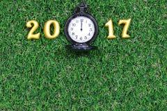 2017 wirkliche 3d Gegenstände auf grünem Gras mit Luxustaschenuhr, guten Rutsch ins Neue Jahr-Konzept Lizenzfreies Stockfoto