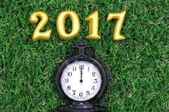 2017 wirkliche 3d Gegenstände auf grünem Gras mit Luxustaschenuhr, guten Rutsch ins Neue Jahr-Konzept Stockfotografie