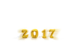 2017 wirkliche Gegenstände 3d auf weißem Hintergrund, guten Rutsch ins Neue Jahr-Konzept Lizenzfreie Stockfotos