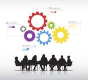 Wirkliche Geschäftsleute mit grafischem Elementvektor der Informationen. Stockfoto