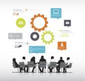 Wirkliche Geschäftsleute mit grafischem Vektor Elemente der Informationen. Lizenzfreies Stockfoto
