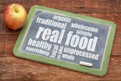 Wirkliche Lebensmittelwortwolke Lizenzfreie Stockfotos