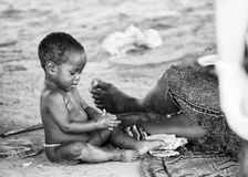 Wirkliche Leute in Togo, in Schwarzweiss Lizenzfreie Stockfotos