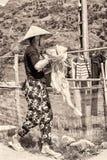 Wirkliche Leute in Vietnam, in Schwarzweiss Stockfoto