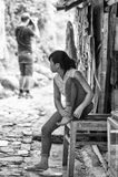 Wirkliche Leute in Vietnam, in Schwarzweiss Stockbild