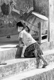 Wirkliche Leute in Vietnam, in Schwarzweiss Stockfotografie