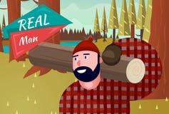 Wirkliche Mann-Lebensstil-natürliches Lebens-Karikatur-Retro- Holz Lizenzfreie Stockfotografie