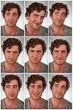 Wirkliche Person Facial-Ausdrücke Stockfotos