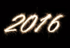 Wirkliche Text des Funkens 2016 neue Jahre Stockfotografie