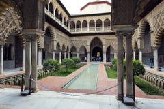 Wirklicher Alcazar in Sevilla, Andalusien Stockfotos