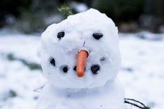 Wirklicher glücklicher Schneemann gemacht von den Kindern Stockfotos