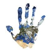 Wirklicher Handdruck kombinierte mit einer Karte von Europa unserer blauen Planet Erde Elemente dieses Bildes geliefert von der N stockbild