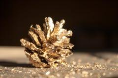 Wirklicher Kiefernkegel im Goldfunkeln Stockbilder
