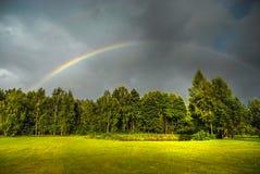 Regenbogen über grünen Bäumen Stockbild