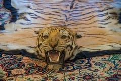 Wirklicher Tigerteppich im Palast stockfotografie