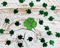 Wirklicher vier Blatt-Klee für St. Patrick Day Lizenzfreie Stockfotos