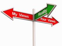 Wirklichkeit zwischen verschiedenen Ansichten Stockfoto