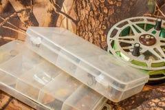 wirować wabije w pudełku i łowić rolkę Zdjęcie Stock