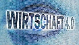 Wirtschaft 4 0 dans les affaires allemandes 4 0 yeux avec la matrice regardent Photos stock