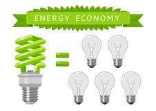 Wirtschaft der elektrischen Energie von Glühlampen Lizenzfreie Stockbilder