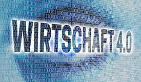 Wirtschaft 4.0 in german Business 4.0 eye with matrix looks at. Viewer concept Stock Photos