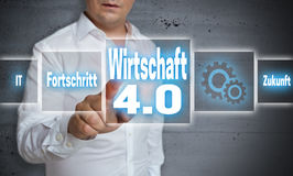 Wirtschaft 4.0 in german economy, progress, future touchscreen. Concept background Royalty Free Stock Photo