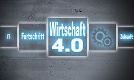 Wirtschaft 4.0 in german economy, progress, future touchscreen Royalty Free Stock Images