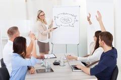 Wirtschaftler, die Geschäftsfrau in der Sitzung beantworten Stockfotografie