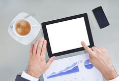 Wirtschaftler With Digital Tablet und Diagramm Lizenzfreie Stockfotos