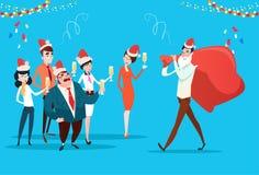 Wirtschaftler feiern frohe Weihnacht-und guten Rutsch ins Neue Jahr-Büro-Geschäftsleute Team Santa Hat Stockbild