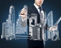 Wirtschaftlerzeichnungs-Geschäftsskizze Stockfoto