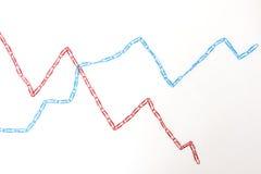 Wirtschaftliches Diagrammdiagramm stellte Büroklammern her Stockfotos