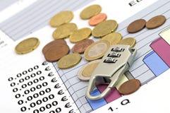 Wirtschaftlichkeit und finanzieren-flacher dof Stockbild