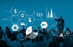 WIRTSCHAFTS-Statistik-Link-Konzept Ralate globales Verbindungs lizenzfreies stockbild