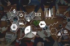 WIRTSCHAFTS-Statistik-Link-Konzept Ralate globales Verbindungs Lizenzfreie Stockfotografie