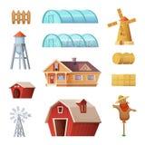 Wirtschaftsgebäude und Bau eingestellt Landwirtschaftsindustrie- und -landschaftslebengegenstände Vektorkarikatur-Konzeptdesign Lizenzfreie Stockbilder