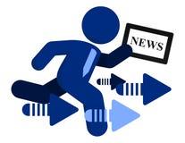 Wirtschaftsnachricht-in Bewegungtablette PC Auflage-Vektor Stockfotos