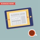 Wirtschaftsnachrichten und Kaffee lizenzfreie abbildung