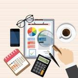 Wirtschaftsprüferarbeitsschreibtisch, Finanzforschungsbericht, Projekttischplattenvektor, Stockfotografie