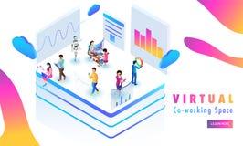 Wirtualna działanie platforma, miniaturowi ludzie analiza dane lub s, zdjęcie stock