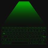 Wirtualna Laserowa klawiatura dla peceta z zielonymi guzikami Zdjęcie Stock