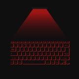 Wirtualna laserowa klawiaturowa czerwień na czarnym tle Fotografia Royalty Free