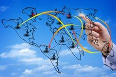 Wirtualna mapa międzynarodowa ogólnospołeczna sieć Fotografia Stock