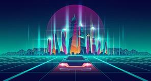 Wirtualna metropolia w cyfrowej symulacji wektorze royalty ilustracja