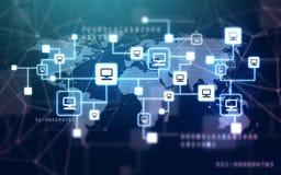Wirtualna sieć komputerowa i światowa mapa obrazy royalty free
