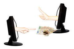 Wirtualna zapłata internetem z rękami drużynowy praca sukces - interneta biznesowy pojęcie - Zdjęcie Royalty Free