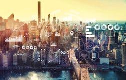 Wirtualne ikony i wykresy z Miasto Nowy Jork zdjęcia royalty free