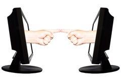 Wirtualnego interneta biznesowy pojęcie z dwa rękami z horizontally dotyka Obrazy Stock
