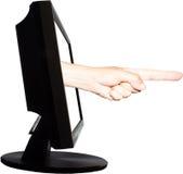 Wirtualnego interneta biznesowy pojęcie z jeden ręką z horizontally palcem Obrazy Stock