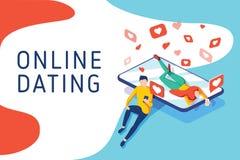 Wirtualni związki, online datowanie i ogólnospołeczny networking pojęcie, nastolatkowie gawędzi na internecie, wektor isometric royalty ilustracja